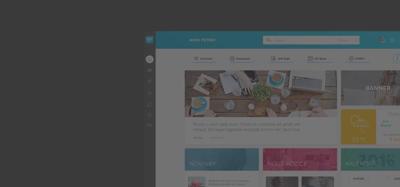 """Ilustrační obrázek s textem - """"HelloNet!"""" intranet v novém designu"""